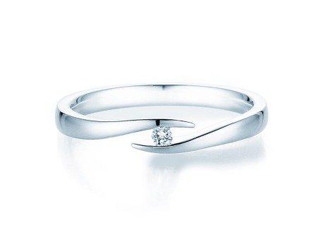 Verlobungsring Twist<br />14K Weißgold<br />Diamant 0,03ct