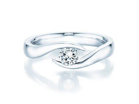 Verlobungsring Twist in Platin mit Diamant 0,30ct