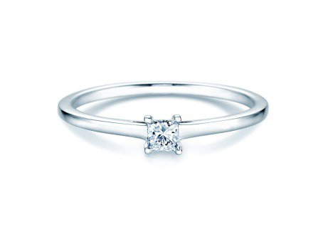 Solitärring Princess in 14K Weißgold mit Diamant 0,25ct