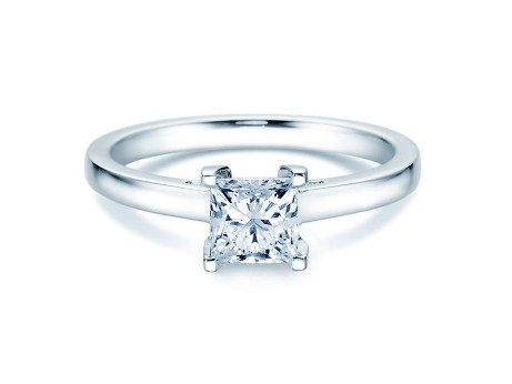 Solitärring Princess in 14K Weißgold mit Diamant 1,00ct