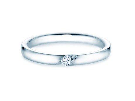 Verlobungsring Italic in 14K Weißgold mit Diamant 0,05ct