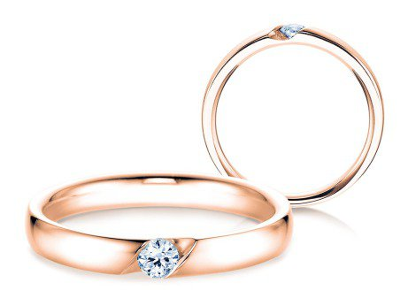Verlobungsring Italic<br />18K Roségold<br />Diamant 0,10ct