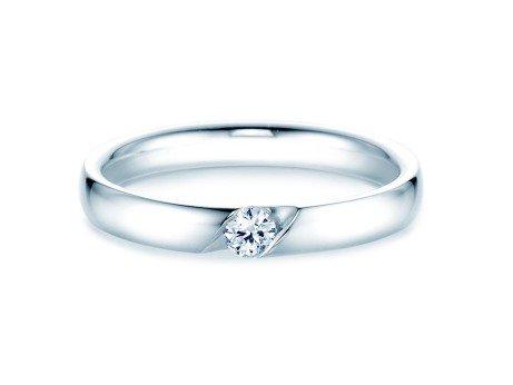 Verlobungsring Italic<br />14K Weißgold<br />Diamant 0,10ct