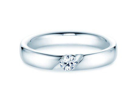 Verlobungsring Italic in Silber mit Diamant 0,15ct