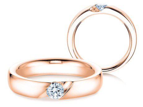 Verlobungsring Italic<br />14K Roségold<br />Diamant 0,25ct