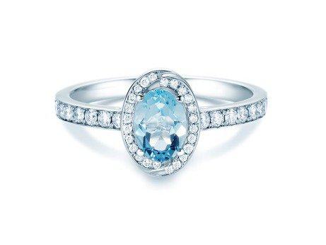Verlobungsring Passion<br />18K Weißgold<br />Aquamarin und Diamanten
