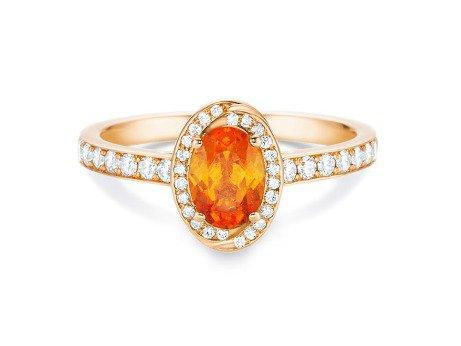 Verlobungsring Passion<br />18K Roségold<br />Mandaringranat und Diamanten