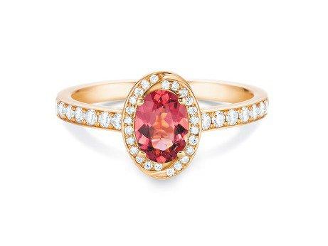 Verlobungsring Passion<br />18K Roségold<br />rosa Turmalin und Diamanten