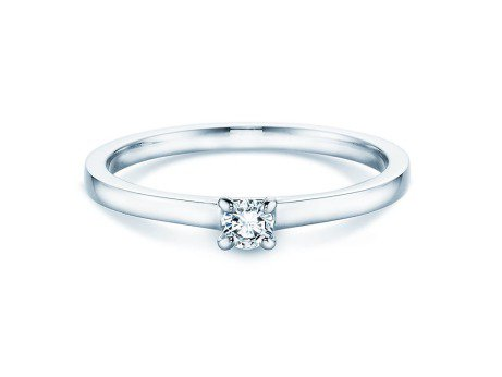 Verlobungsring Modern<br />14K Weißgold<br />Diamant 0,10ct
