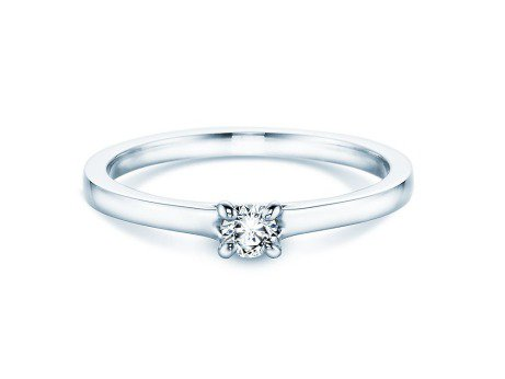 Verlobungsring Modern in Silber mit Diamant 0,15ct