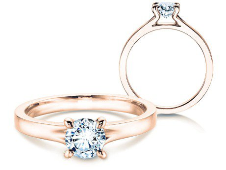 Verlobungsring Modern in 18K Roségold mit Diamant 0,50ct