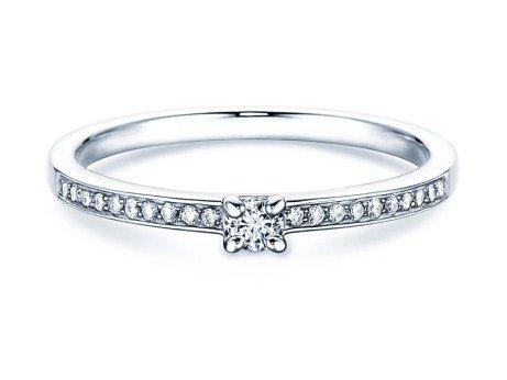 Verlobungsring Modern Pavé in 18K Weißgold mit Diamant 0,05ct