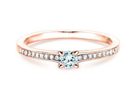 Verlobungsring Modern Pavé<br />14K Roségold<br />Diamant 0,35ct