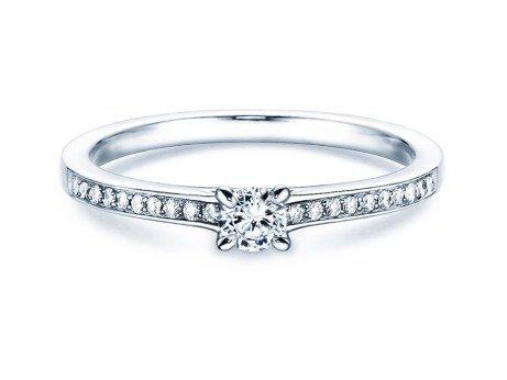 Verlobungsring Modern Pavé<br />18K Weißgold<br />Diamant 0,15ct