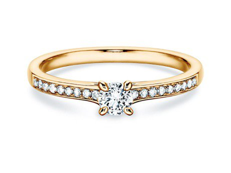 Verlobungsring Modern Pavé in 18K Gelbgold mit Diamant 0,10ct