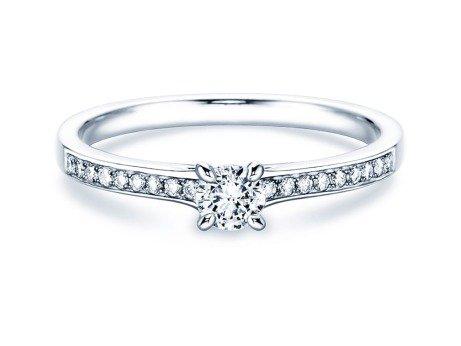 Verlobungsring Modern Pavé in Silber mit Diamant 0,20ct