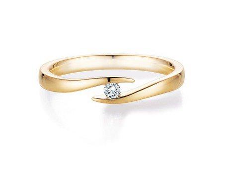 Verlobungsring Twist in 18K Gelbgold mit Diamant 0,05ct