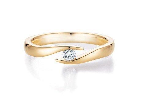 Verlobungsring Twist in 14K Gelbgold mit Diamant 0,15ct