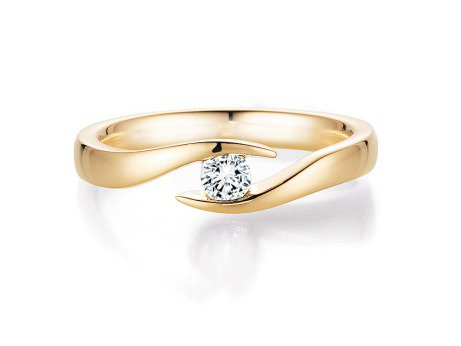 Spannring Twist in 14 Karat Gelbgold (585/-) mit Diamant 0,15ct
