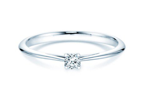 Solitärring Delight in 14K Weißgold mit Diamant 0,10ct