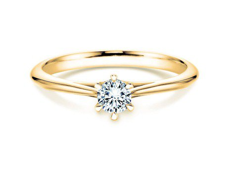 Solitärring Heaven 6 in 14K Gelbgold mit Diamant 0,25ct