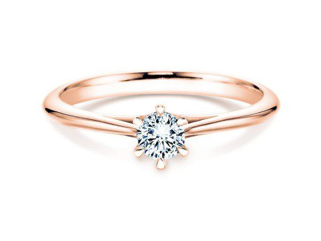 Solitärring Heaven 6 in 14K Roségold mit Diamant 0,05ct