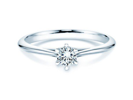 Solitärring Heaven 6er Krappenfassung in Platin (950/-) mit Diamant 0,25ct