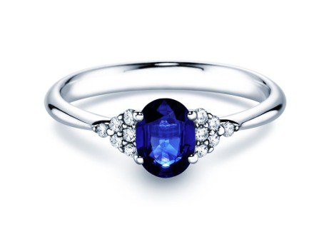 Saphirring Glory 1,00ct in Silber mit Diamant 0,12ct