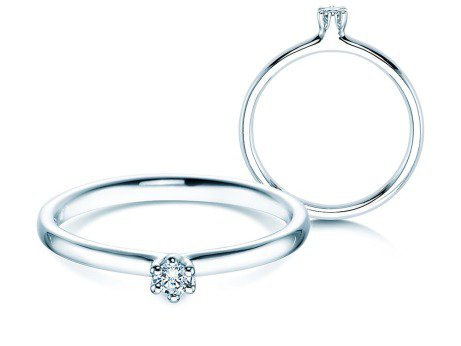 Verlobungsring Classic<br />Silber<br />Diamant 0,05ct