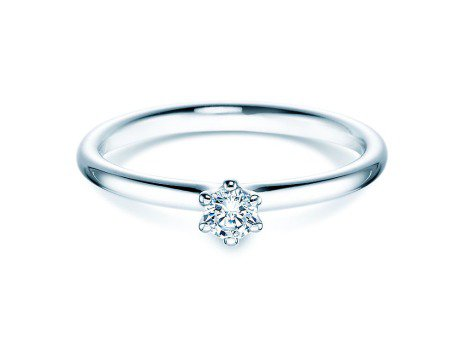 Verlobungsring Classic in 18K Weißgold mit Diamant 0,15ct