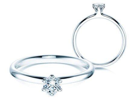 Verlobungsring Classic in 14K Weißgold mit Diamant 0,25ct
