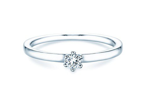 Verlobungsring Classic Petite in 14K Weißgold mit Diamant 0,13ct