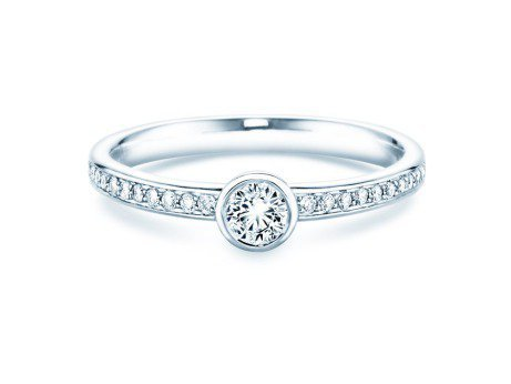 Solitärring Eternal Pavé<br />14K Weißgold<br />Diamant 0,35ct