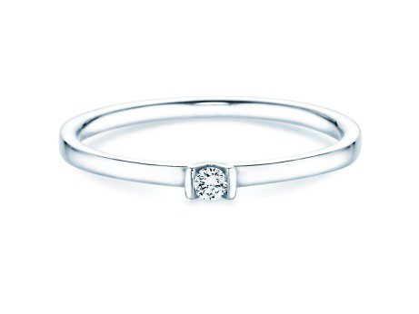 Solitärring Love<br />14K Weißgold<br />Diamant 0,04ct