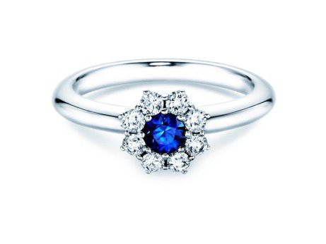 Saphirring Lovely<br />Platin<br />Saphir und Diamant 0,40
