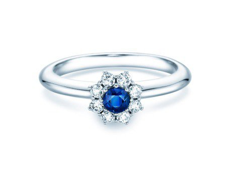 Saphirring Lovely<br />Platin<br />Saphir und Diamant 0,15