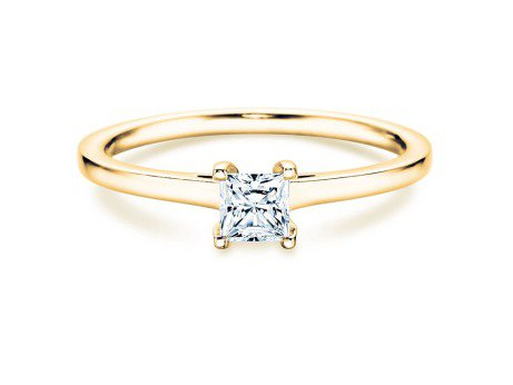 Solitärring Princess in 14K Gelbgold mit Diamant 0,35ct