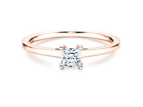 Solitärring Princess in 18K Roségold mit Diamant 0,15ct