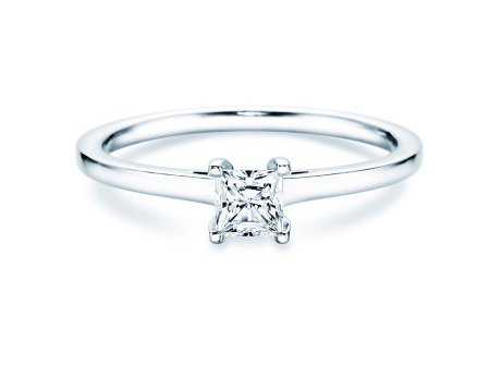 Solitärring Princess in 14K Weißgold mit Diamant 0,35ct