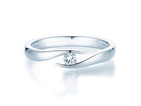 Verlobungsring Twist<br />14K Weißgold<br />Diamant 0,10ct