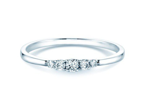Verlobungsring 5 Diamonds in Platin mit Diamant 0,15ct
