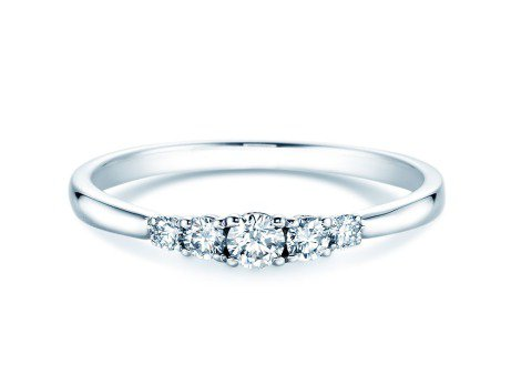 Verlobungsring 5 Diamonds in Platin mit Diamant 0,25ct