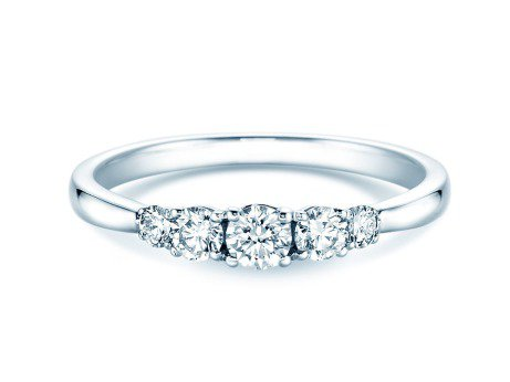 Verlobungsring 5 Diamonds in Platin mit Diamant 0,40ct