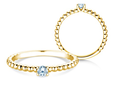 Verlobungsring Classic Beads<br />14k Gelbgold<br />Diamant 0,10ct