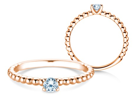Verlobungsring Classic Beads<br />14k Roségold<br />Diamant 0,20ct