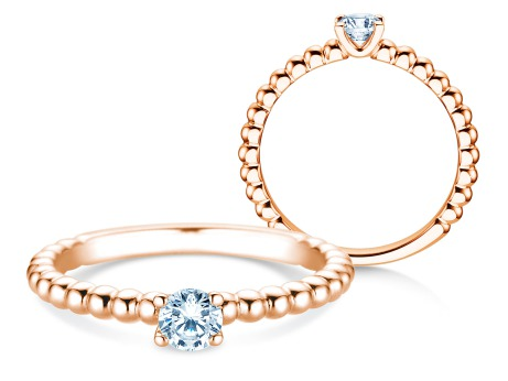 Verlobungsring Classic Beads<br />18k Roségold<br />Diamant 0,25ct