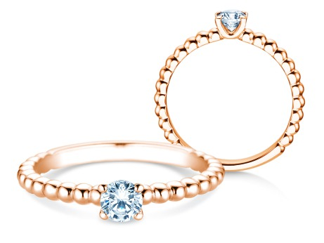 Verlobungsring Classic Beads<br />18k Roségold<br />Diamant 0,30ct