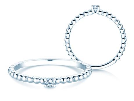 Verlobungsring Classic Beads<br />14k Weißgold<br />Diamant 0,05ct