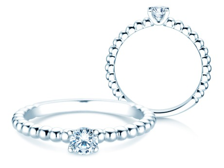 Verlobungsring Classic Beads<br />14k Weißgold<br />Diamant 0,25ct