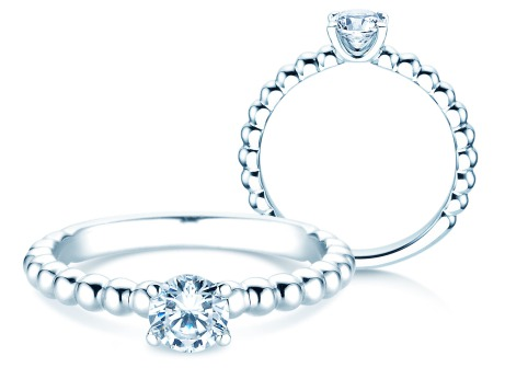 Verlobungsring Classic Beads<br />14k Weißgold<br />Diamant 0,50ct